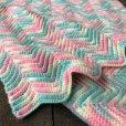 画像3: Vintage U.S.A Baby Knit Blanket Rug 100x90 cm (S075)  (3)