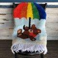 Vintage Rainbow Parasol Bear Rag Mat (S149)