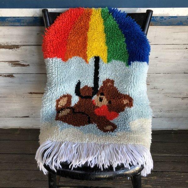 画像1: Vintage Rainbow Parasol Bear Rag Mat (S149)