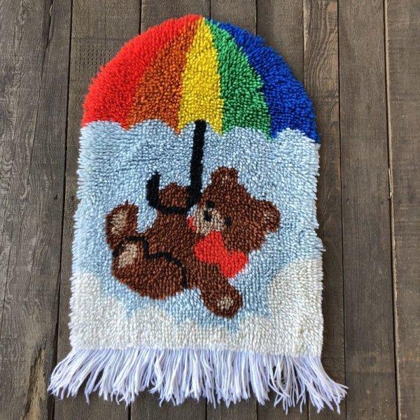 画像2: Vintage Rainbow Parasol Bear Rag Mat (S149)