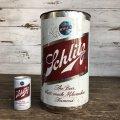 60s Vintage Schlitz Beer Tin Trash Waste Can (S256)