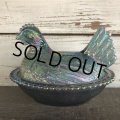 Vintage Carnival Indiana Glass Iridescent Hen On Nest Candy Dish (S333)