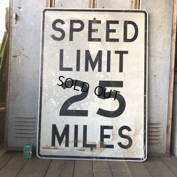 画像1: Vintage Road Sign SPEED LIMIT 25 MILES (S394)