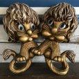 画像1: 70s Vintage Homco Wall Deco Gold Lion (S434)  (1)