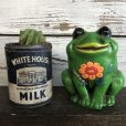 画像1: Vintage Ceramic Frog Bank Hippie Flower Power Psychedelic (S488) (1)