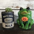Vintage Ceramic Frog Bank Hippie Flower Power Psychedelic (S488)
