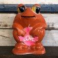 画像1: Vintage Psychedelic Hippie Frog Piggy Bank LOVE (S516) (1)