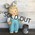 Vintage Gund Rubber Face Doll Blue Bunny (S792)