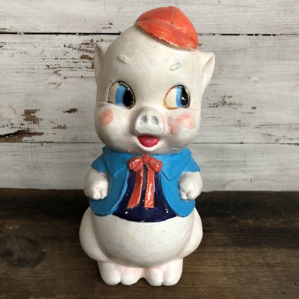 画像1: Vintage Piggy Bank Red Ribbon (S822)