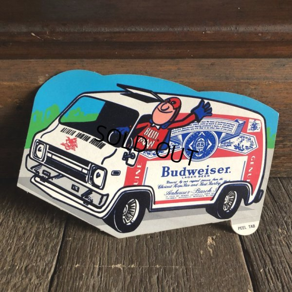 画像1: 70s Vintage Budweiser Bud Man Mighty Malt Sticker Decal (S855)