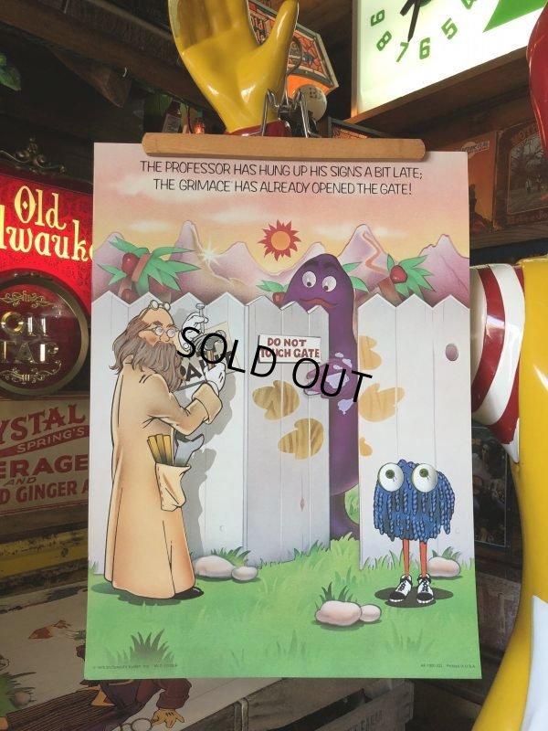 画像1: 70s Vintage McDonalds Poster Sign Grimace & The Professor (S905)
