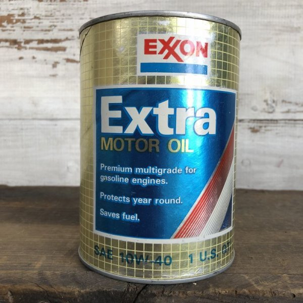 画像1: Vintage EXXON Quart Oil can (S923)