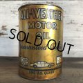 Vintage ALL-WEATHER MOTOR OIL Quart Oil can (S944)