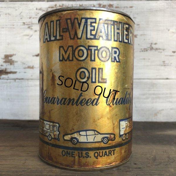 画像1: Vintage ALL-WEATHER MOTOR OIL Quart Oil can (S944)