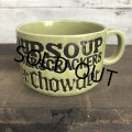 70s Vintage Soup Crackers Chowder Heavy Mug Green (S927)