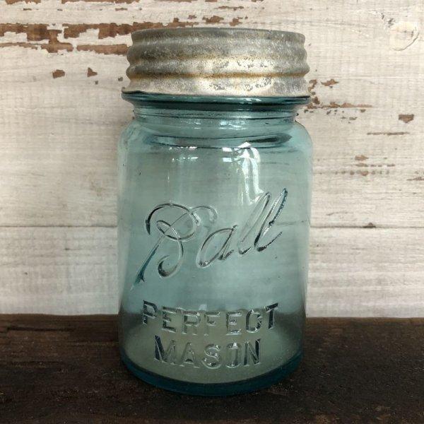 画像1: 30s Vintage Glass Ball Mason Jar 14cm (S991)