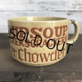 70s Vintage Soup Crackers Chowder Heavy Mug Brown (S926)