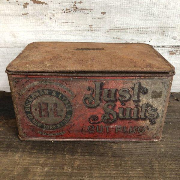 画像1: Vintage Just Suits Cut Plug Tabacco Tin (T006)
