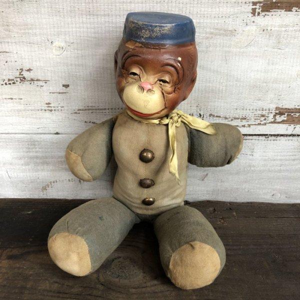 画像1: Vintage 1930s Monkey Bellhop Doll Composition (MA503)
