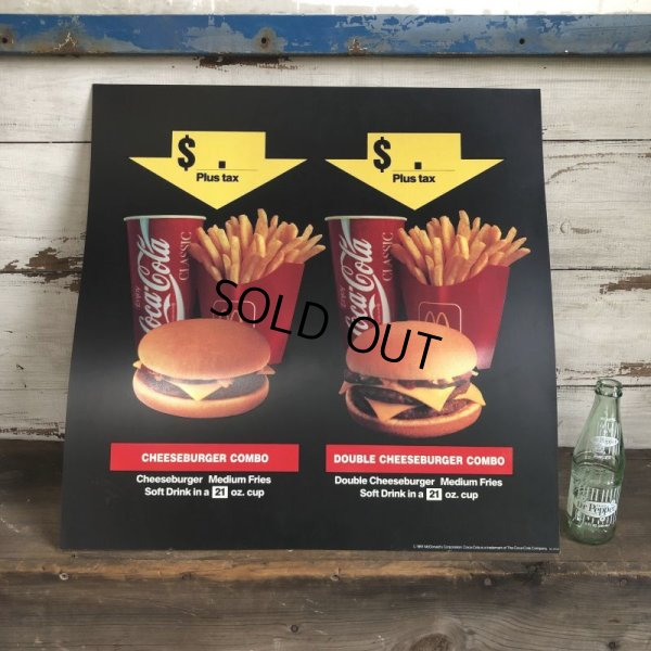 画像1: 1991 Vintage McDonalds Trance Light Sign CHEESEBURGER COMBO (T219)
