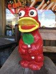 画像1: Vintage Psychedelic Hippie Frog Piggy Bank Red (T324)  (1)