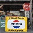 画像2: 60s Vintage Pepsi Cola A Pepsi Break Makes Sense! Embossed Metal Sign (T417) (2)