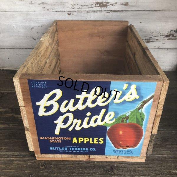画像1: Vintage Wooden Fruits Crate Box Butler's Pride (T552)