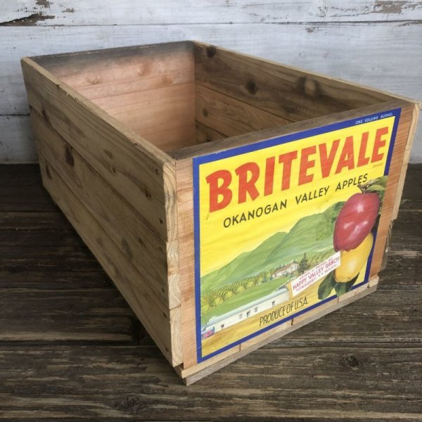 画像2: Vintage Wooden Fruits Crate Box BRITEVALE (T555)