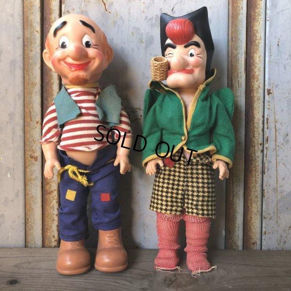 画像1: 50s Vintage Yokum Dogpatch Pappy & Mammy Doll Set 35cm (T607)