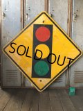 Vintage Road Sign TRAFFIC SIGNAL (T640)