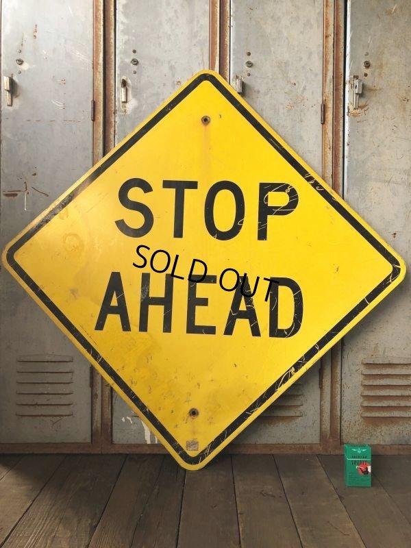 画像1: Vintage Road Sign STOP AHEAD (T652)