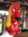 70s Vintage NY Vinyl Plastic Dog Bank Basset hound Red (T779)