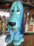 70s Vintage NY Vinyl Plastic Dog Bank Basset hound Blue (T320)