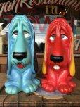 画像9: 70s Vintage NY Vinyl Plastic Dog Bank Basset hound Red (T779)