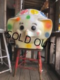 70s Vintage CIRCUS Polka Dot Elephant Blow Mold Toy Chest Box (T923)
