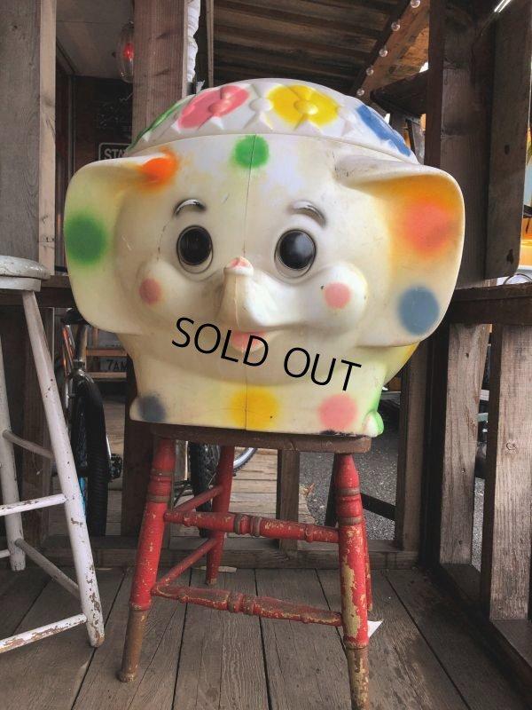画像1: 70s Vintage CIRCUS Polka Dot Elephant Blow Mold Toy Chest Box (T923)