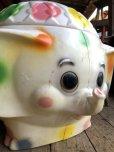 画像8: 70s Vintage CIRCUS Polka Dot Elephant Blow Mold Toy Chest Box (T923)