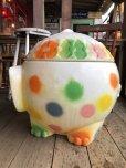 画像4: 70s Vintage CIRCUS Polka Dot Elephant Blow Mold Toy Chest Box (T923)