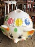 画像10: 70s Vintage CIRCUS Polka Dot Elephant Blow Mold Toy Chest Box (T923)