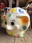 画像3: 70s Vintage CIRCUS Polka Dot Elephant Blow Mold Toy Chest Box (T923)