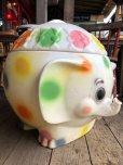 画像7: 70s Vintage CIRCUS Polka Dot Elephant Blow Mold Toy Chest Box (T923)
