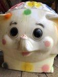 画像9: 70s Vintage CIRCUS Polka Dot Elephant Blow Mold Toy Chest Box (T923)