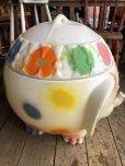 画像6: 70s Vintage CIRCUS Polka Dot Elephant Blow Mold Toy Chest Box (T923)