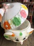 画像12: 70s Vintage CIRCUS Polka Dot Elephant Blow Mold Toy Chest Box (T923)