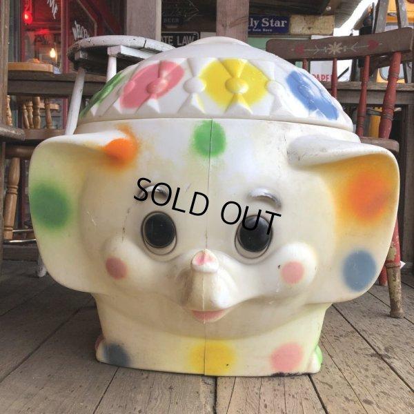 画像2: 70s Vintage CIRCUS Polka Dot Elephant Blow Mold Toy Chest Box (T923)