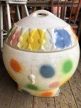 画像5: 70s Vintage CIRCUS Polka Dot Elephant Blow Mold Toy Chest Box (T923)