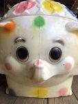 画像16: 70s Vintage CIRCUS Polka Dot Elephant Blow Mold Toy Chest Box (T923)