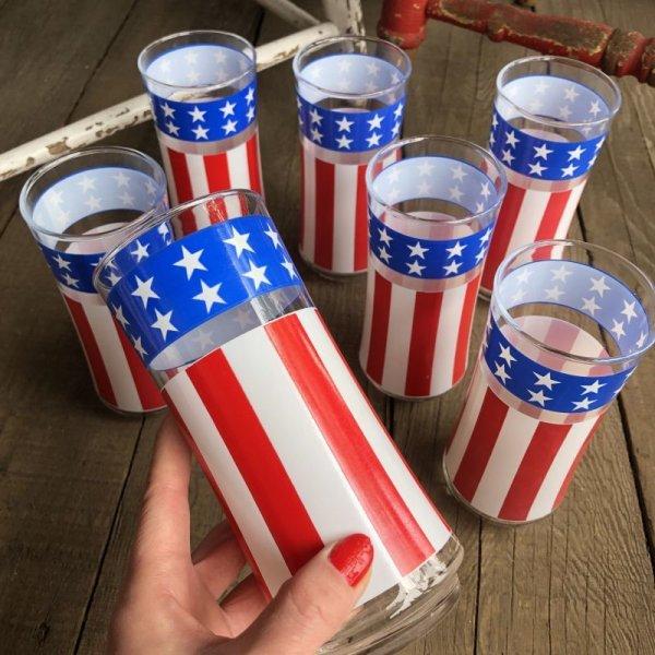 画像2: Vintage Groovy American Old Glory Stars and Stripes Glass (T915)
