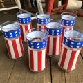 Vintage Groovy American Old Glory Stars and Stripes Glass (T915)