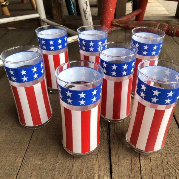 画像1: Vintage Groovy American Old Glory Stars and Stripes Glass (T915)